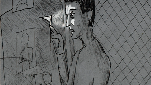 A storyboard from the pre-production phase of the short film, Diabolos.