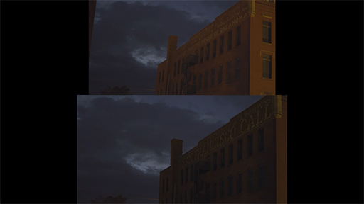 a before-and-after demonstration of an exterior shot from the feature film, You Can't Win.